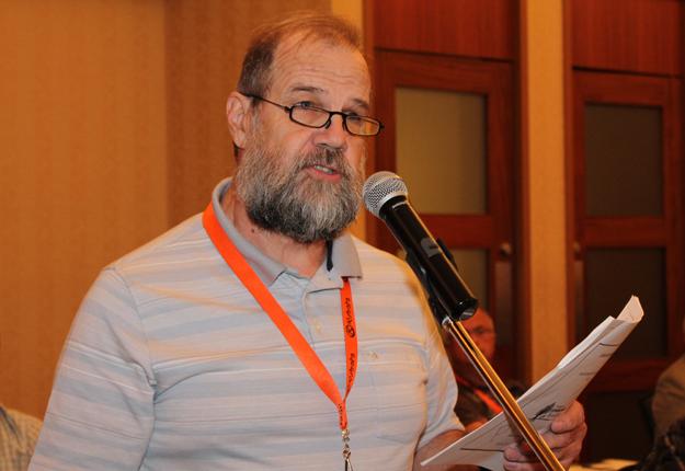 André Roy, président du Syndicat des producteurs forestiers du sud du Québec, a présenté la résolution demandant à la Fédération d'entreprendre une initiative visant la mise en place d'un plan conjoint unique d'ici cinq ans. © Pierre-Yvon Bégin