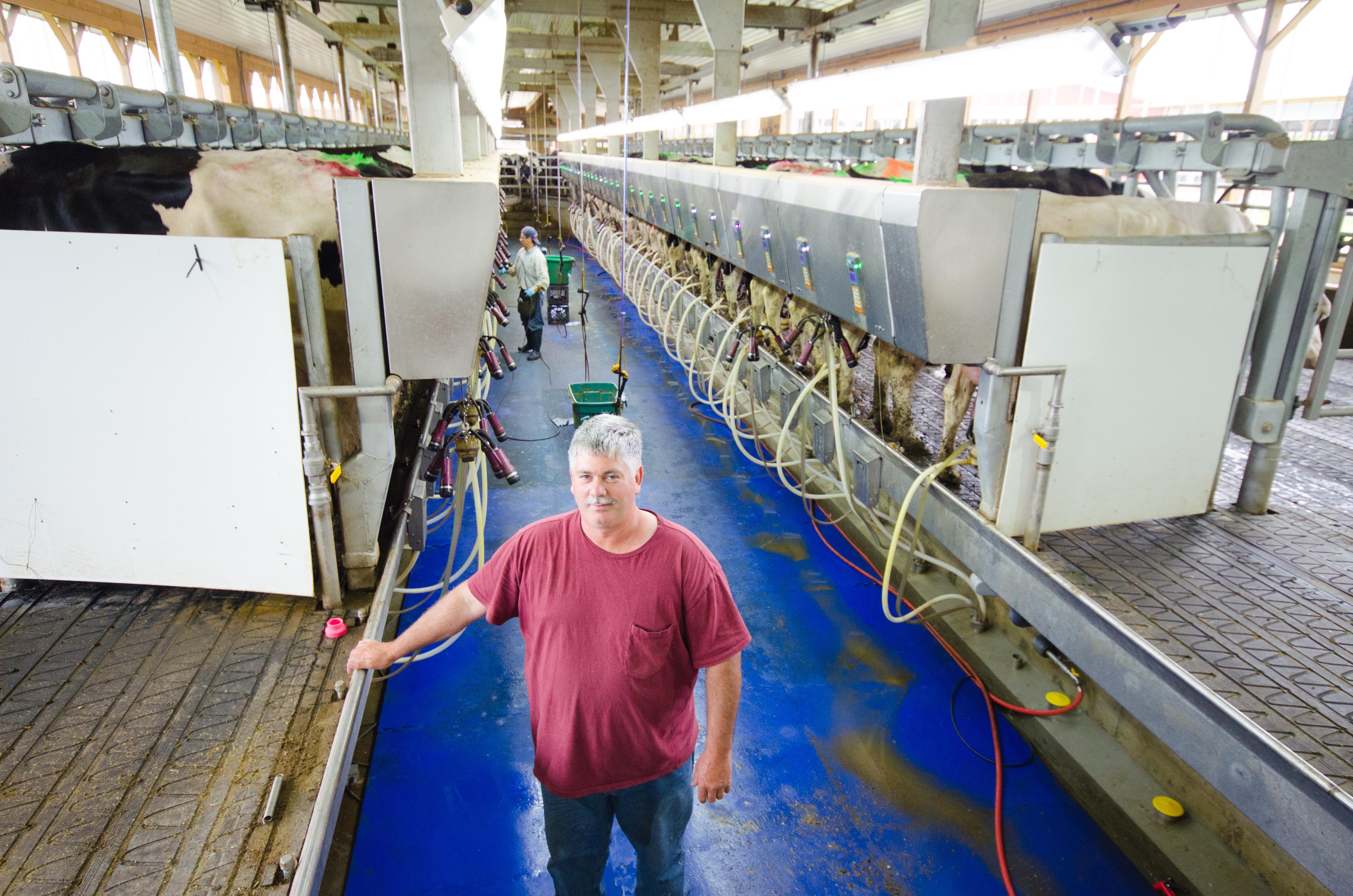 Mark St-Pierre devant l'un de ses trois salons de traite. L'entreprise emploie de 30 à 45 personnes, produit environ 44 millions de litres de lait par année et cultive 2 500 hectares © Martin Ménard