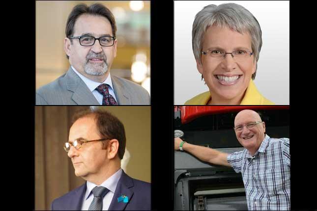 René Vincelette, candidat libéral, Brigitte Sansoucy, candidate néo-démocrate, Michel Filion, candidat bloquiste et Réjean Léveillé, candidat conservateur.