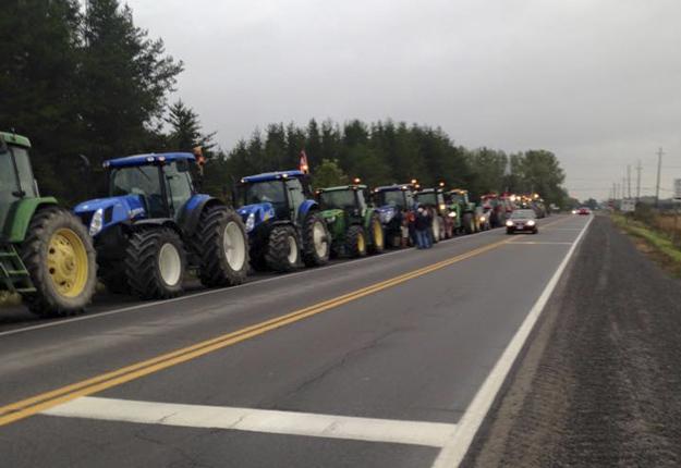 Des producteurs sous gestion de l'offre d'un peu partout au Québec ont pris ce matin le chemin d'Ottawa. Crédit photo : Bruno Saint-Pierre