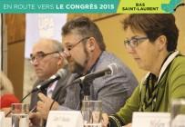 Gilbert Marquis, président de la Fédération de l'UPA du Bas-Saint-Laurent, a été réélu par acclamation pour un 4e mandat. Il est entouré du vice-président de l'UPA, Pierre Lemieux, et de Johanne Laplante, directrice générale à la Fédération. Crédit photo : Pierre-Yvon Bégin/TCN