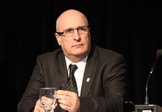 Bruno Letendre, président des Producteurs de lait du Québec, lors de l'assemblée semi-annuelle 2015. Crédit photo : Pierre-Yvon Bégin/TCN