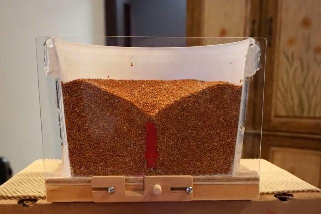 Une fois la trappe du bas ouverte, un mouvement d'entonnoir entraîne la colonne de grains située au centre du modèle réduit du silo vers le bas. Il ne faut alors que 10 secondes à une personne qui se trouve sur les grains pour être ensevelie et mourir asphyxiée. Crédit photo : Myriam Laplante El Haïli/TCN