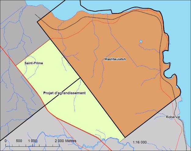 Agrandissement de la carte du secteur d'agrandissement prévu. Crédit photo : Gracieuseté Pekuakamiulnuatsh Takuhikan