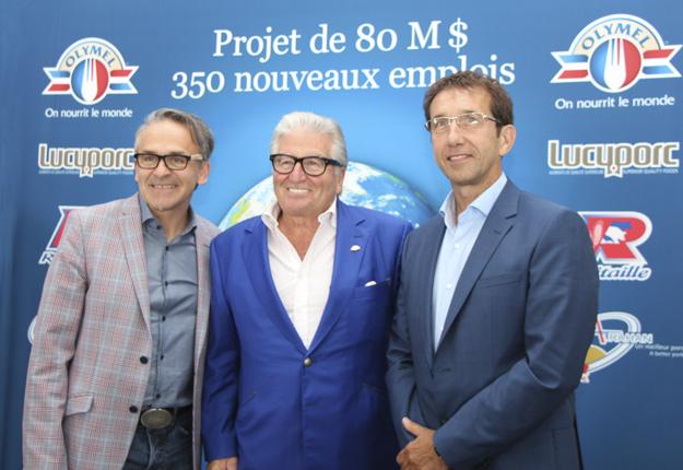 Les dirigeants d'Olymel et du Groupe Robitaille ont annoncé un investissement de 80 M$ à l'usine Atrahan de Yamachiche. Dans l'ordre habituel, Denis Trahan, Réjean Nadeau et Claude Robitaille. Crédit photo : Pierre-Yvon Bégin/TCN