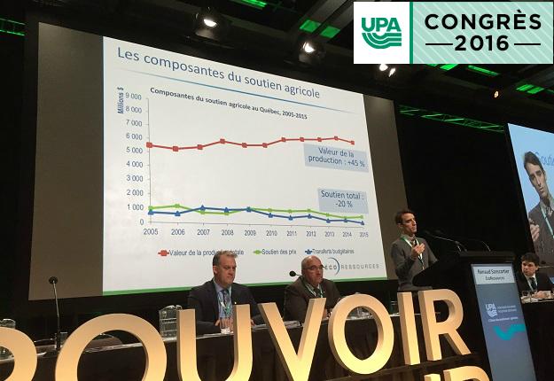 L'économiste Renaud Sanscartier a présenté les résultats de son étude aux congressistes de l'UPA. Crédit photo : Martin Ménard / TCN