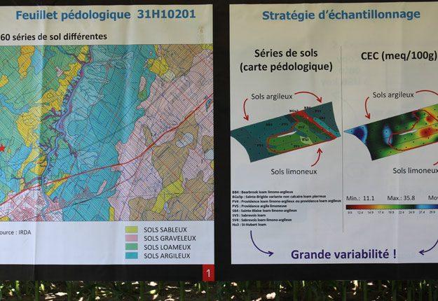Carte pédologique et stratégie d'échantillonnage. Crédit photo: Caroline Barré