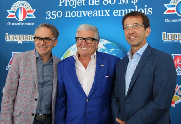 Investissement de 80 M$ chez ATRAHAN de Yamachiche. De gauche à droite, Denis Trahan, Réjean Nadeau et Claude Robitaille.