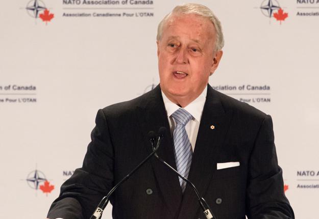 Brian Mulroney, conseiller du gouvernement canadien, a livré un discours dans lequel il propose une remise en question de la gestion de l'offre pour faciliter la renégociation de l'ALENA. Crédit photo : Mike Feraco