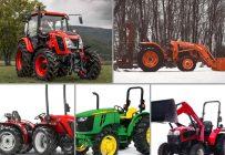 Présentation de cinq tracteurs spécialisés pour le bois : le Antonio Carraro SN 5800, le Zetor Major 60, le Kubota MX5200, le Mahindra 3550 PST et le John Deere 5055E
