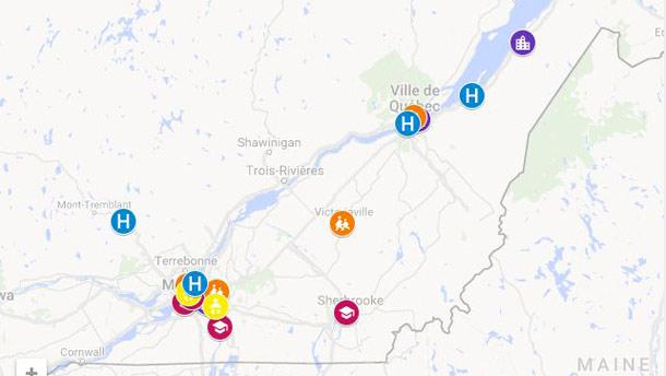 Une carte interactive permet de localiser les établissements participant au programme de reconnaissance Aliments du Québec au menu. Crédit photo : Aliments du Québec