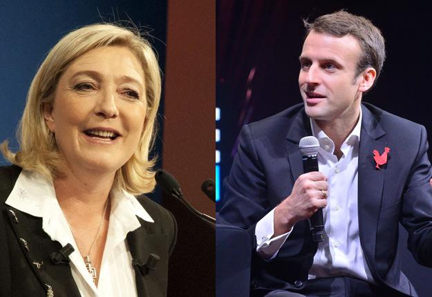 Le candidat à la présidentielle française Emmanuel Macron dépasse son opposante Marine Le Pen dans les sondages. Crédits photos : LEWEB et Rémi Noyon