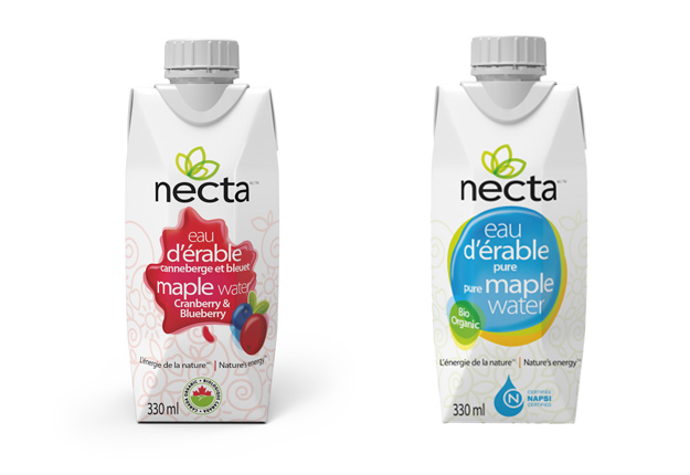 L'entreprise Necta vient de lancer de nouveaux produits : de l'eau d'érable aromatisée aux canneberges et aux bleuets, au thé et au citron, etc. « Nous envisageons aussi de produire une eau d'érable gazéifiée pour le marché européen; une solution de remplacement à l'eau minérale », lance en primeur Jérémie Barchechath. Crédit Photo : Necta