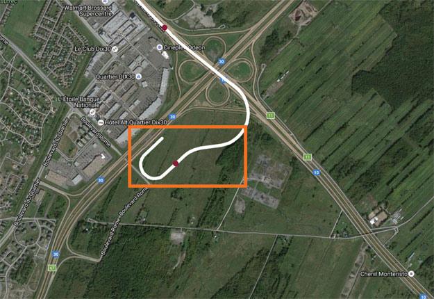 L'emplacement prévu pour le REM dans le cadran sud-ouest de l'intersection des autoroutes 10 et 30. Crédit photo : Gracieuseté de CDPQ Infra