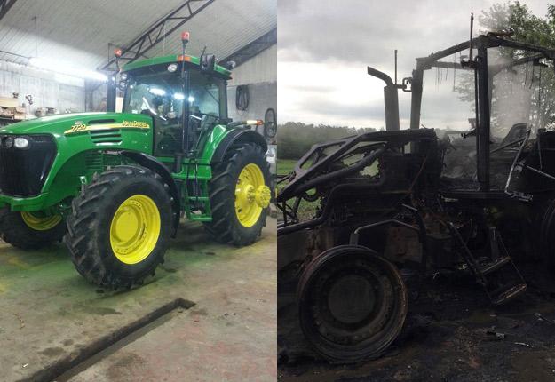Le tracteur avant le vol et après celui-ci. Crédit Photo : Gracieuseté