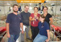 Les propriétaires Sébastien Pagé et Anne-Josée Bourque, entourés de leurs employés Jean-Christophe Bellerose, Véronique Dupré et Marie-Ève Poitras. Crédit photo : Christian Paquin