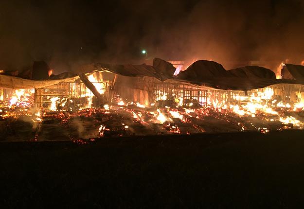 Près de 18 000 bêtes ont péri dans l'incendie qui a décimé la maternité porcine de Daniel Henri à Saint-Roch-de-l'Achigan, le 26 août. Crédit photo : Gracieuseté de Daniel Henri