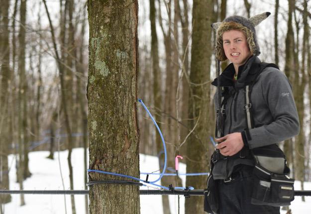 À 25 ans, Julien Dupasquier a trouvé en acériculture le moyen de concrétiser ses ambitions d'entrepreneur. Crédit photo : Pierre-Yvon Bégin