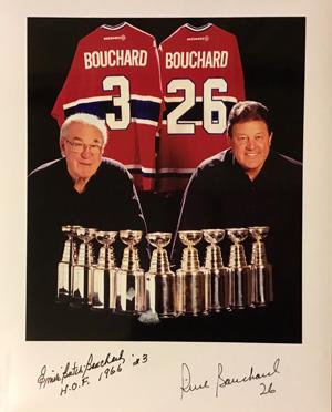 Pierre Bouchard et son père Émile, constituent le duo père-fils le plus prolifique de l'histoire de la LNH avec neuf conquêtes de la coupe Stanley. Crédit photo: Gracieuseté de Pierre Bouchard.