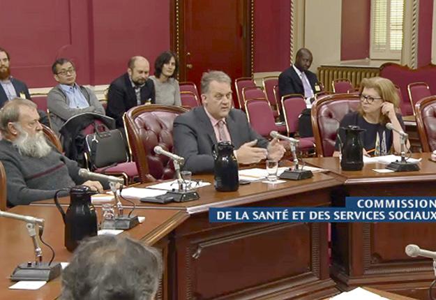 Les représentants de l'UPA André Mousseau, Martin Caron et Alyne Savary ont déposé un mémoire sur la production de cannabis à la Commission de la santé et des services sociaux. Gracieuseté de l'Assemblée nationale du Québec.