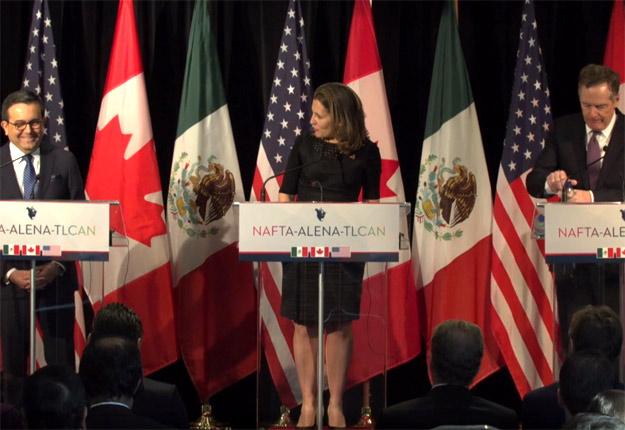 « Nous avons des idées qui devraient nous permettre d'avancer », a déclaré la ministre des Affaires étrangères, Chrystia Freeland, lors de la conférence de presse finale de la 6e ronde de Montréal le 29 janvier.