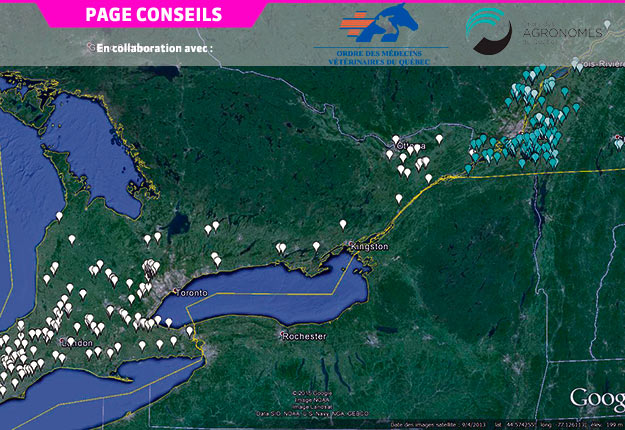 Diversité des sites étudiés au Québec et en Ontario pour prévoir les doses personnalisées d'azote optimales du maïs-grain.
