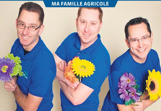 Dominic, Éric et Philippe Brisebois ont pris les rênes de l'entreprise horticole en 2015. Crédit photo : Gracieuseté de la Famille Brisebois