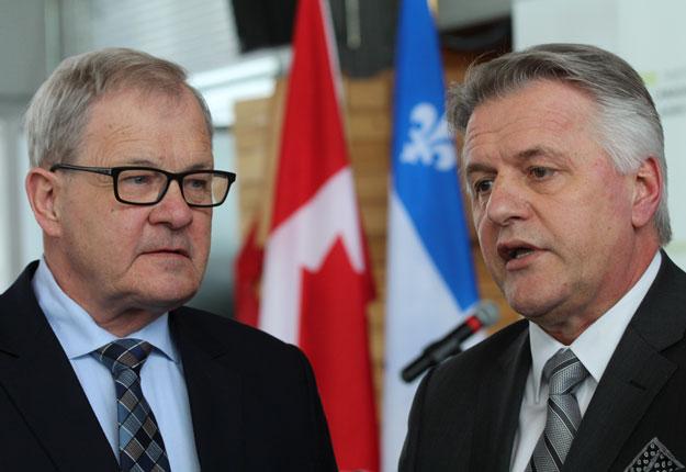 Les ministres Lawrence MacAulay et Laurent Lessard étaient à Montréal le 16 mars pour annoncer un accord bilatéral.