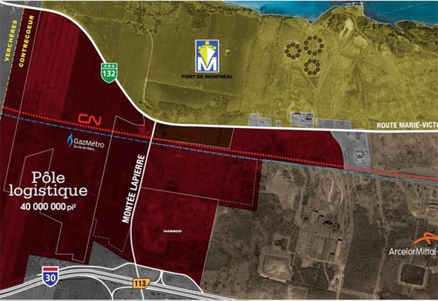 Carte du futur pôle logistique réalisée par le Port de Montréal. Crédit photo : Port de Montréal