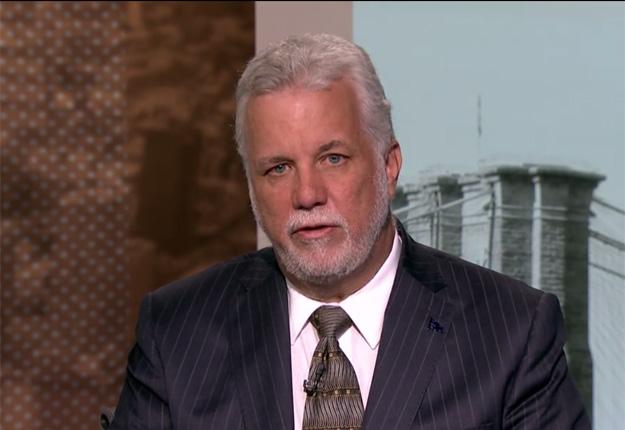 Le premier ministre du Québec Philippe Couillard en entrevue chez Bloomberg New York.