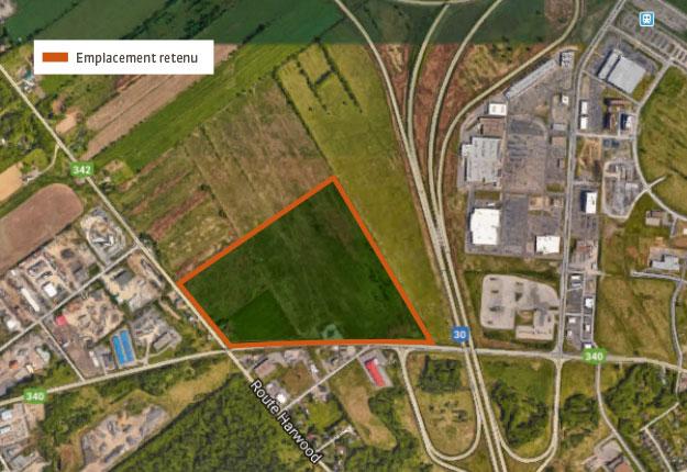 Le site du nouvel hôpital est situé près de l'intersection des autoroutes 30 et 40 à Vaudreuil-Dorion, en Montérégie-Ouest. Source : Google