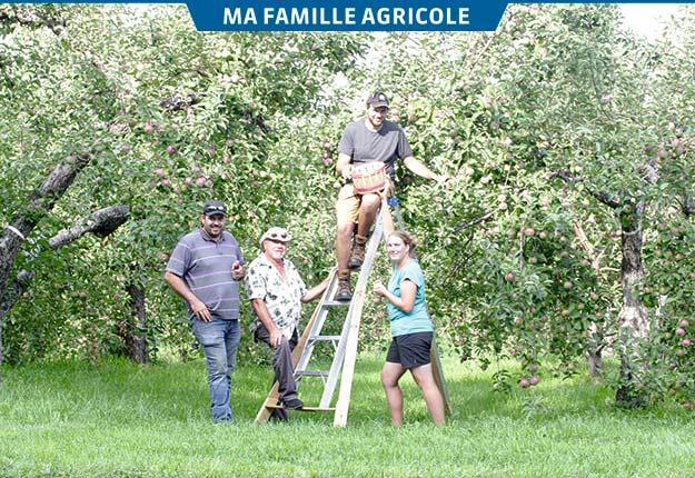 Jonathan, André, Marc-André Trottier et Gaëlle Charpentier sont dans le pic de la saison des pommes. Crédit photos: Josianne Desjardins/TCN