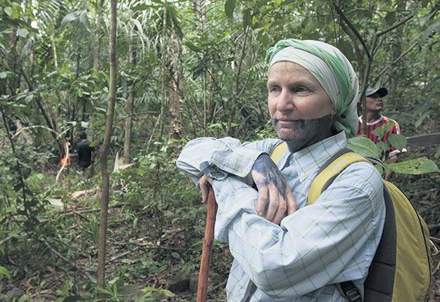 La Dre Catherine Potvin étudie l'écologie des forêts tropicales sur le territoire autonome de Kuna de Madugandi, au Panama. Elle porte une peinture corporelle dessinée avec le jus d'un fruit (le jagua) par un membre de la communauté autochtone Emberá. Crédit photo : Sean Matson, Smithsonian Tropical Research Institute