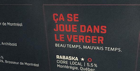 Une place privilégiée est réservée au cidre Rabaska dans le menu.