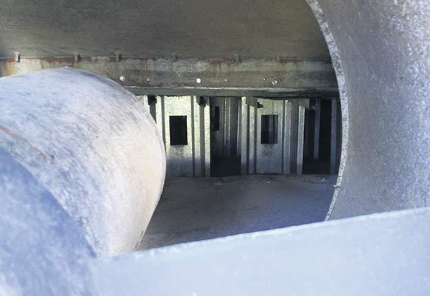 À la simple vue de cette configuration de plancher à partir de la sortie du ventilateur, on comprend que le passage de l'air sera entravé. Crédit photo : Nicolas St-Pierre