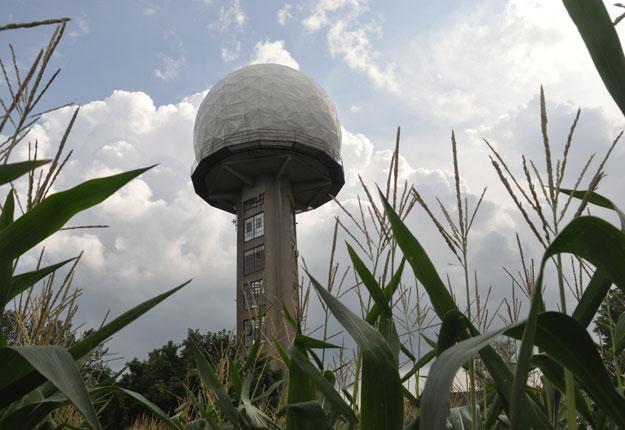 Le radar de l'Université McGill mesure 25 mètres de hauteur. Crédit photo : Véronique Meunier