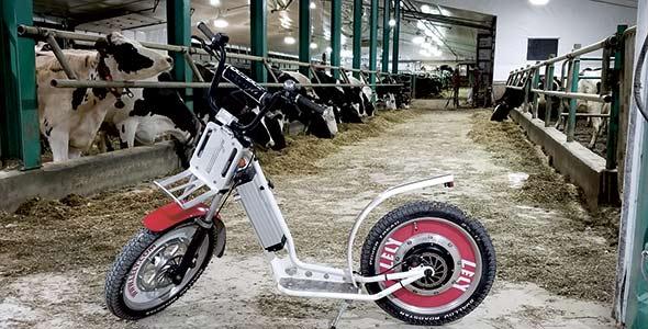 Le Geebee, vélo électrique à position debout, silencieux et peu énergivore, réduit la fatigue et se faufile partout, même dans les bâtiments. Crédit photo : Stéphane Lamonde