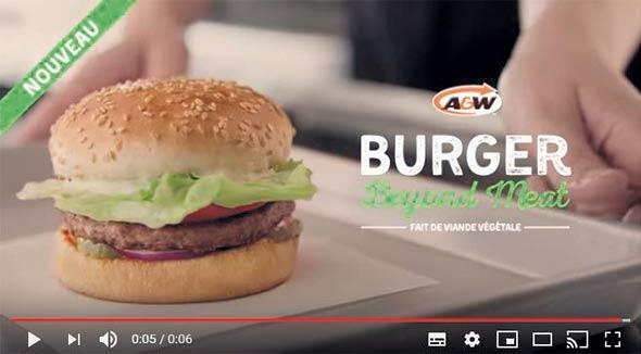 A&W Canada fait la promotion de son hamburger Beyond Meat «fait de viande 100% végétale» sur YouTube. Photo : A&W