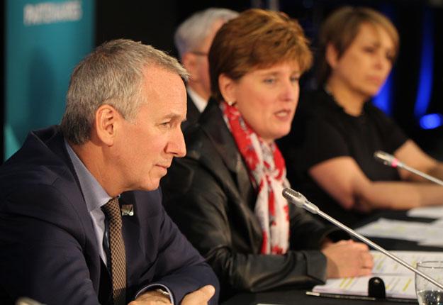 Le ministre de l'Agriculture du Québec, André Lamontagne, était fier de présenter un bilan positif de la première année d'implantation de la Politique bioalimentaire. Photo : Myriam Laplante El Haïli/TCN