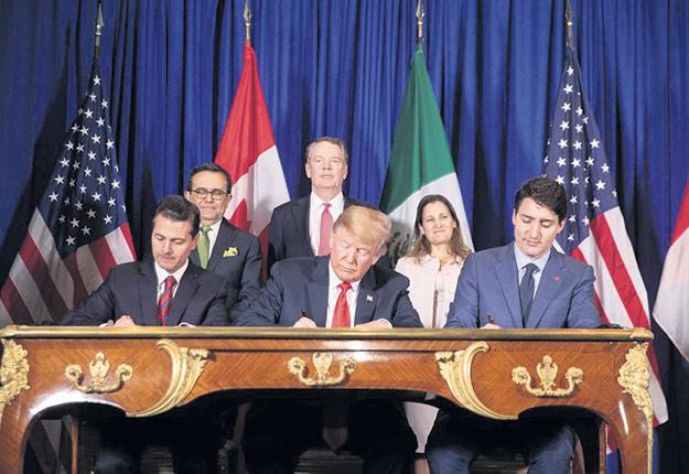 Les dirigeants mexicain, américain et canadien lors de la signature officielle de l'ACEUM, le 30 novembre, en Argentine. Crédit photo : Maison-Blanche