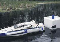 Le bateau-robot prototype mis au point par Viacheslav Adamchuk et Shiv Prasherk, chercheurs au Département de génie des bioressources de l'Université McGill. Photo : Viacheslav Adamchuk