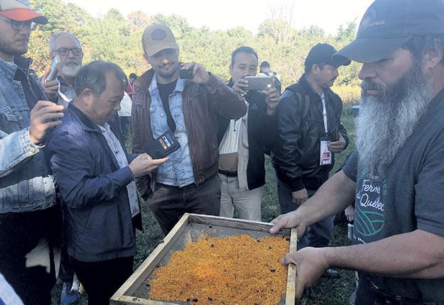 Martin Blais, de Fleur à miel, montre sa façon de récolter le pollen aux participants internationaux d'Apimondia. Photo : Geneviève Quessy