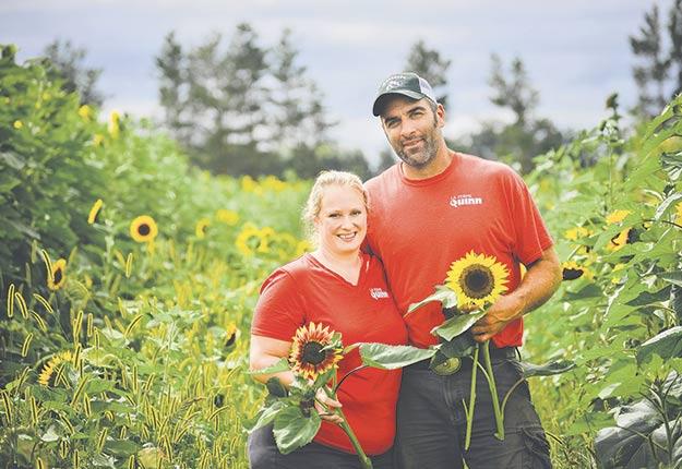 Stéphanie et Philippe Quinn misent sur l'agrotourisme d'expérience et exigent un coût d'entrée de 5 $ à leur ferme maraîchère de Notre-Dame-de-l'Île-Perrot, en Montérégie. Photo : Gracieuseté de la Ferme Quinn