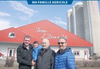 Les trois générations d'agriculteurs de la Ferme L. Dion & Fils sont formées de Marc-Olivier, qui tient dans ses bras son fils Louis, de son grand-père Lionel et de son père Luc. Photos: Véronique Demers