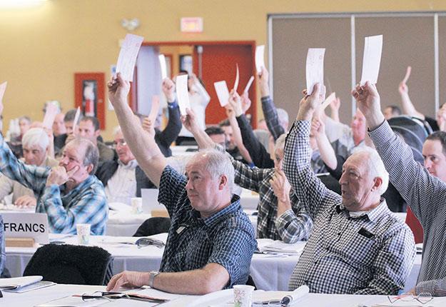 Les délégués du Centre-du-Québec ont rejeté à l'unanimité le plan de financement de l'Union des producteurs agricoles. Ils demandent à l'organisation d'augmenter avant tout les contributions de ses membres plutôt que la hauteur de leur cotisation annuelle. Photos: Martin Primeau/TCN