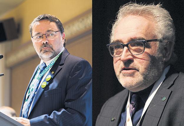 Christian St-Jacques, président de la Fédération de l'UPA de la Montérégie, et Paul Doyon, 2evice-président de l'UPA.