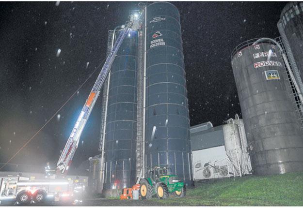 Le corps des deux victimes a été retrouvé inerte à l'intérieur du silo par le Service de sécurité incendie de Beauceville. Photo : Gracieuseté de la CNESST