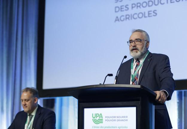 Paul Doyon, le 2e vice-président sortant de l'Union des producteurs agricoles, est réélu pour un second mandat. Crédit photo : Pascal Ratthé