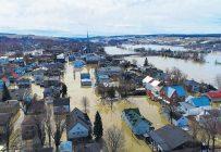 Les inondations d'avril 2019 à Sainte-Marie vont forcer la démolition d'au moins 300 résidences dans son centre-ville. Photo : Gracieuseté de la ville de Sainte-Marie