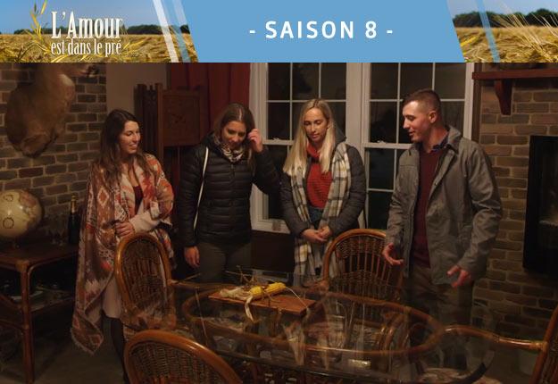 Pour attribuer les chambres, Jayson a laissé ses prétendantes Audrey-Ann, Mélanie et Marie-Michelle choisir entre les céréales, le maïs et le soya. C'est Mélanie qui, en optant pour le soya, a eu la plus belle chambre. Photos : Noovo.ca